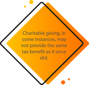 Quote: [Since TCJA], Charitable giving, in some instances, may not provide the same tax benefit as it once did.