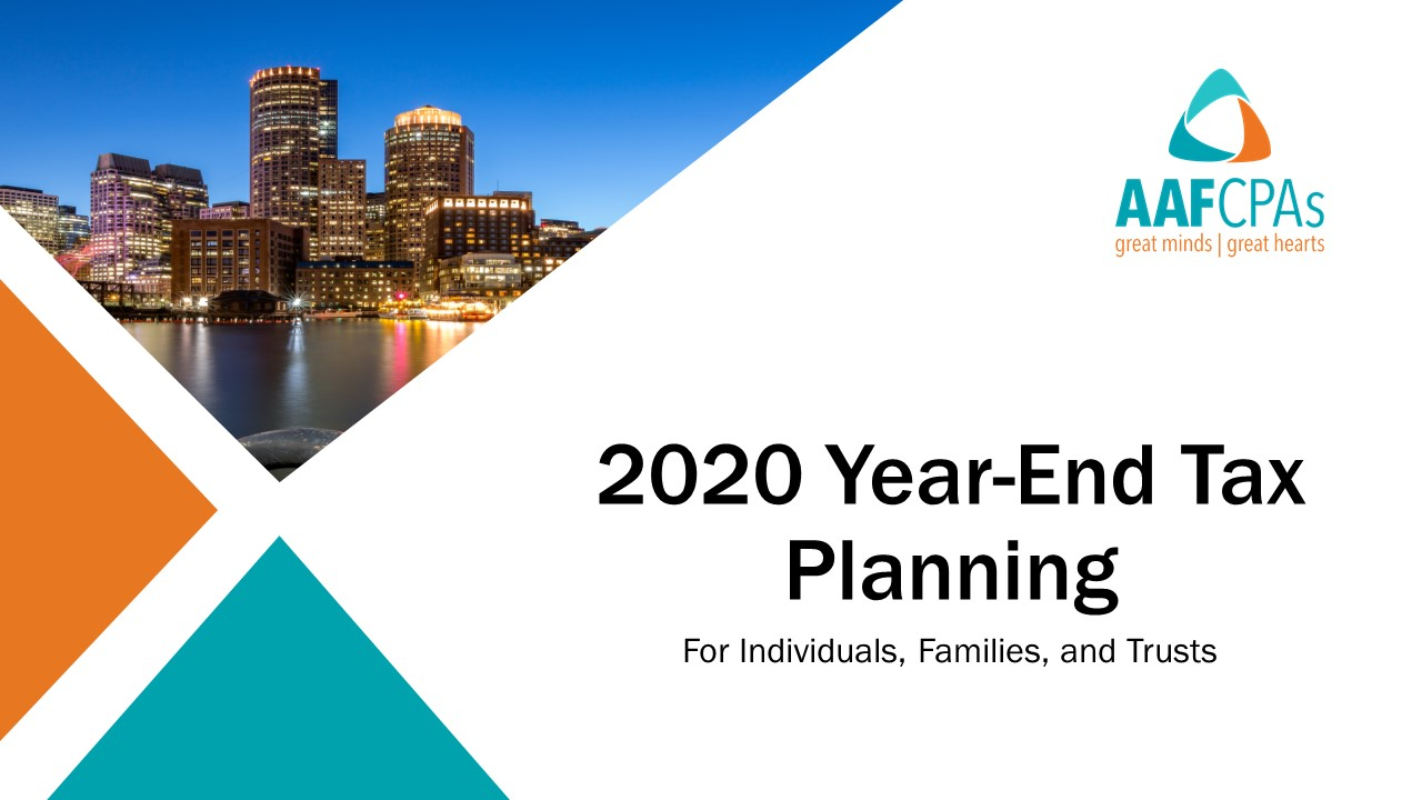 2020 Tax Planning Webinar: Guidance for Individuals