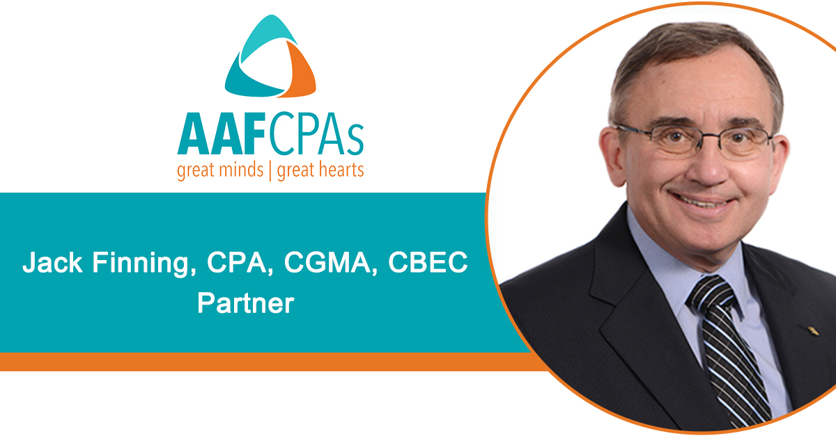 AAFCPAs Jack Finning Earns Certified Business Exit Consultant Designation