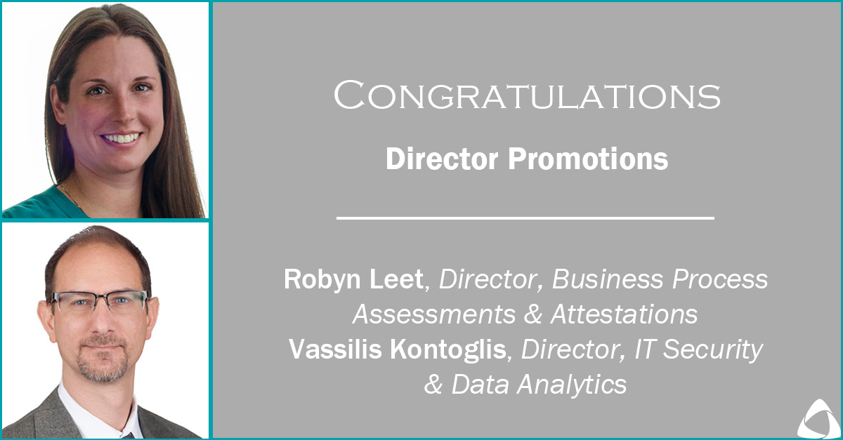 Leet, Kontoglis Promoted to Directors, Business Process & IT Consulting